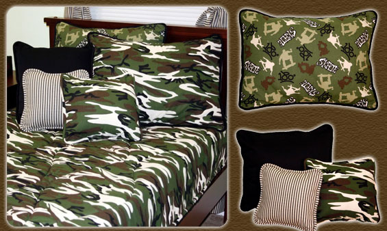 skateboard and camouflage boys bedding and room decor