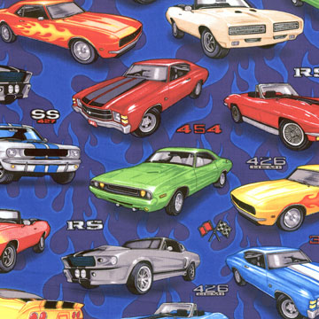 Muscle Cars Fabric