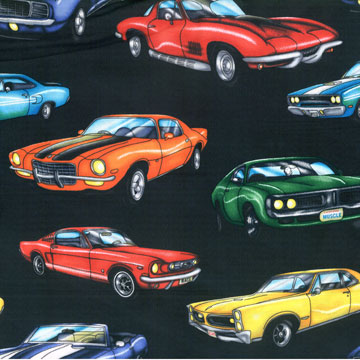 Muscle Cars Black Fabric