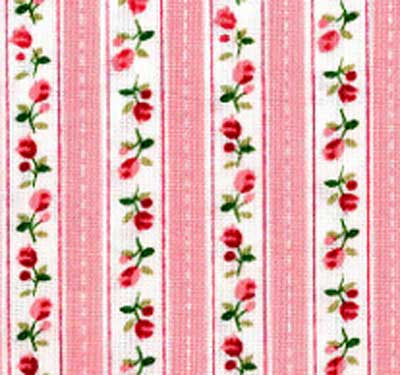 Fabric With Pink Roses Pink Roses Stripe Fabric