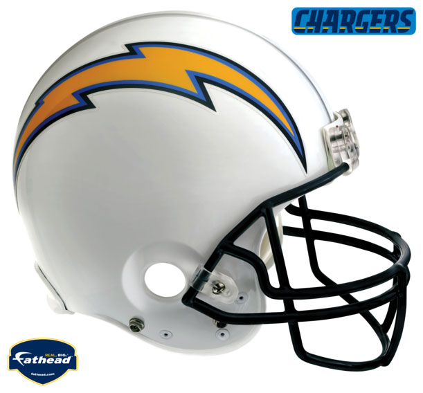 San Diego Chargers White Helmet Fathead Nfl Wall Graphic