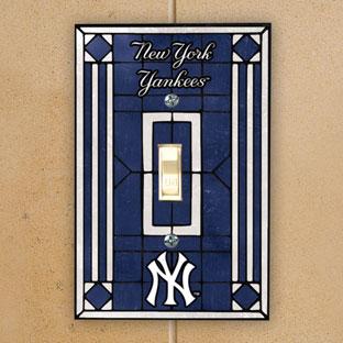 New York Yankees Mlb Art Glass Single Light Switch Plate Cover