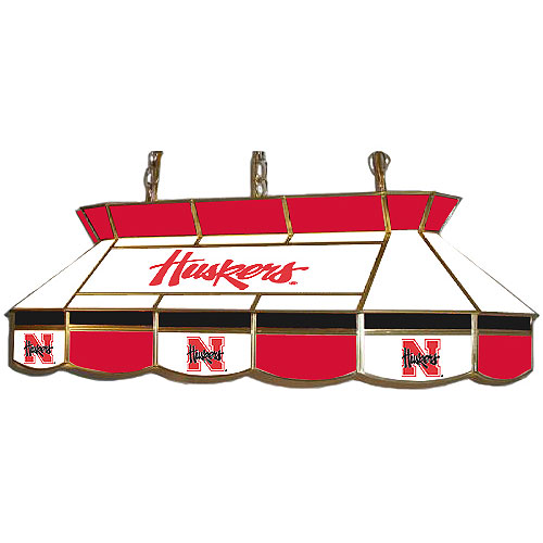 Stained Glass Billiard Light: Nebraska Cornhuskers Teardrop Stained Glass Billiard Light