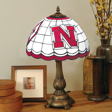 Nebraska Huskers Ncaa College Stained Glass Tiffany Table Lamp