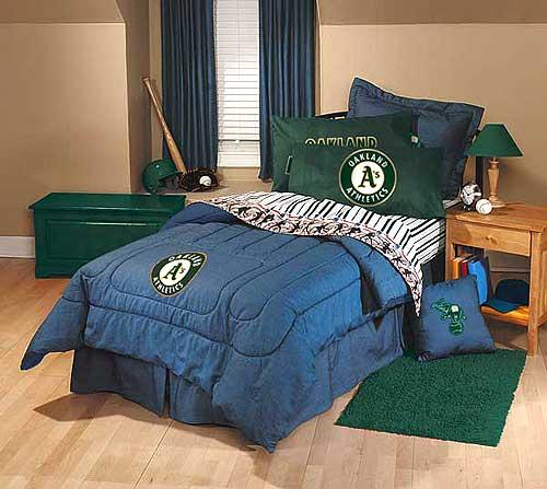 Oakland athletics team denim full size comforter sheet set for Denim bedroom ideas