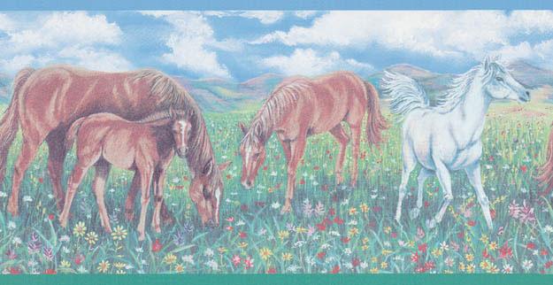 horse wallpaper border. Grass Dark Wall Border