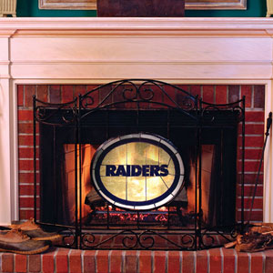 Oakland Raiders Nfl Stained Glass Fireplace Screen