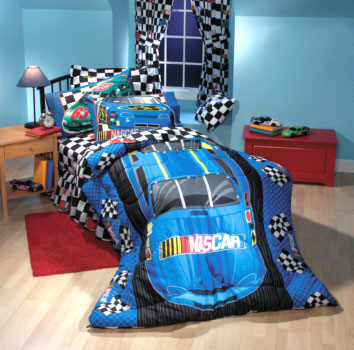 Nascar Race Car Checkered Flag Twin Comforter Sheet Set