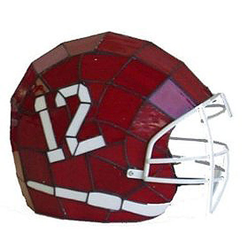 ncaa alabama crimson tide stained glass football helmet lamp