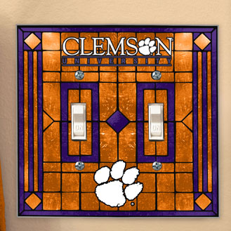 Clemson Tigers Ncaa College Art Glass Double Light Switch
