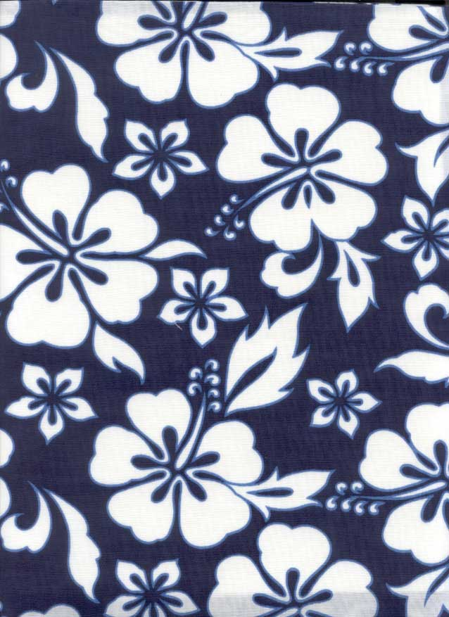 California Dreamin Fabric By The Yard Navy Hibiscus
