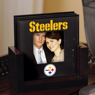 Pittsburgh Steelers Nfl Art Glass Photo Frame Coaster Set