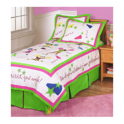 Team Spirit Cheer Leader Girls Full Size Quilt Set