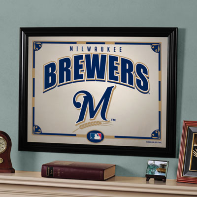 Milwaukee Brewers Mlb Framed Glass Mirror