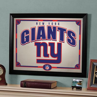 New York Giants Nfl Framed Glass Mirror