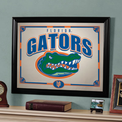 Florida gators ncaa college framed glass mirror for Gator bedroom ideas