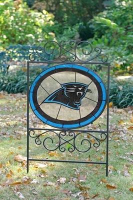 Carolina Panthers Nfl Stained Glass Outdoor Yard Sign