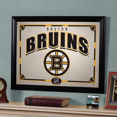 Boston bruins nhl framed glass mirror Bruins room decor