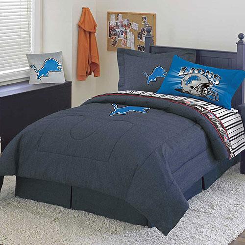 Detroit Lions Nfl Team Denim Full Comforter Sheet Set