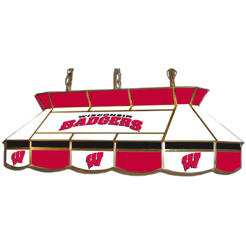 Budweiser Stained Glass Pool Table Light: Wisconsin Badgers Teardrop Stained Glass Billiard Light
