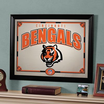 Cincinnati bengals nfl framed glass mirror for Bengals bedroom ideas