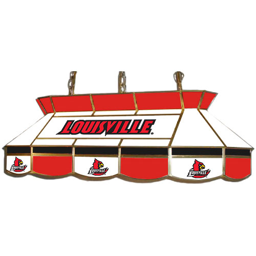 Stained Glass Billiard Light: Louisville Cardinals Teardrop Stained Glass Billiard Light