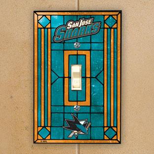 San Jose Sharks Nhl Art Glass Single Light Switch Plate Cover