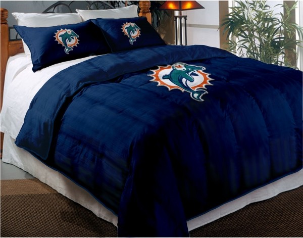 Miami Dolphins Nfl Twin Chenille Embroidered Comforter Set With 2 Shams 64 X 86