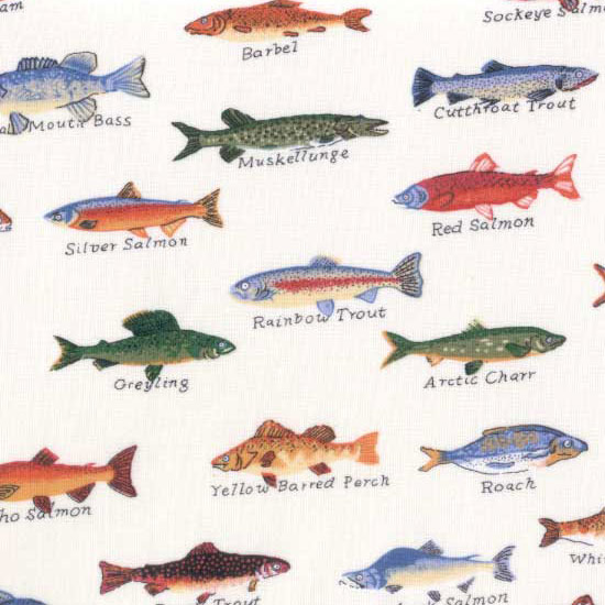 Gone Fishing Fabric By The Yard Creme Fish