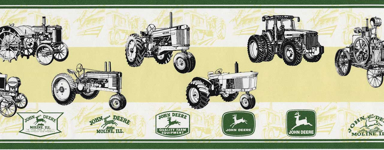 John Deere New Antique Tractor Wallpaper Border