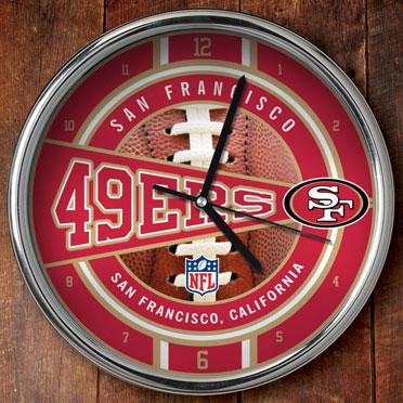 San francisco 49ers nfl 12 chrome wall clock for 49ers room decor