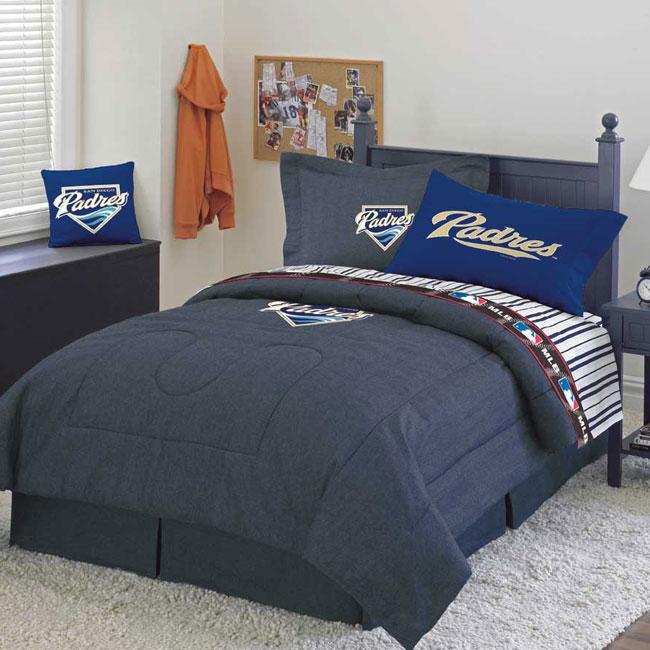 San diego padres team denim twin comforter sheet set for Denim bedroom ideas