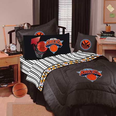 New York Knicks Team Denim Twin Comforter Sheet Set