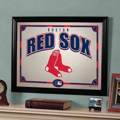 Boston red sox mlb framed glass mirror for Boston red sox bedroom ideas