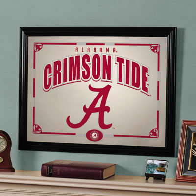 alabama crimson tide ncaa college framed glass mirror. Black Bedroom Furniture Sets. Home Design Ideas