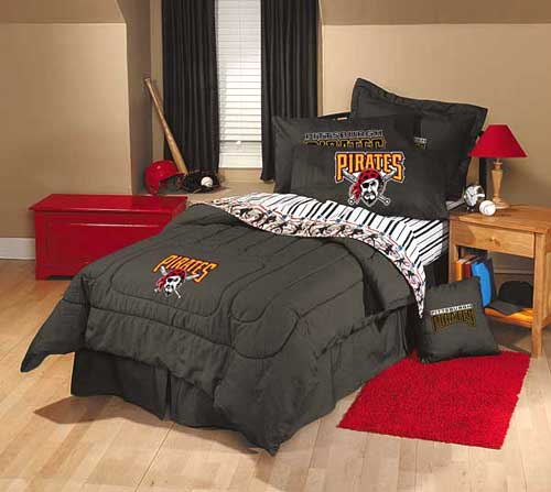 Pittsburgh Pirates Team Denim Full Comforter Sheet Set