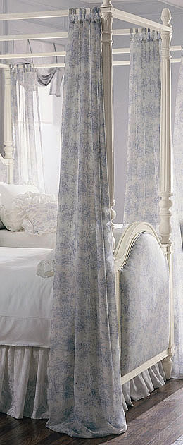 Isabella Toile Sheer Curtain Panels Blue