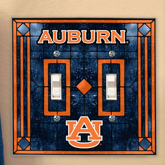 Auburn Tigers Ncaa College Art Glass Double Light Switch