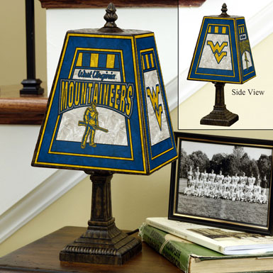 West Virginia Mountaineers Ncaa College Art Glass Table Lamp