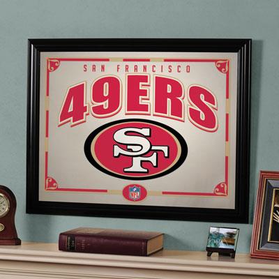 San francisco 49ers nfl framed glass mirror for 49ers room decor