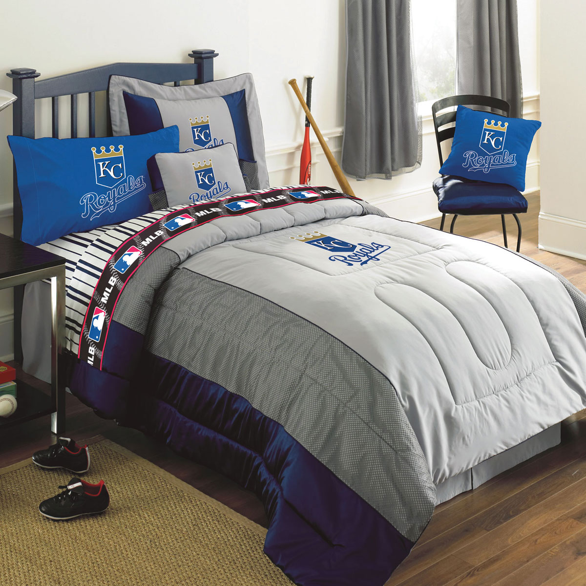 Kansas City Royals MLB Authentic Team Jersey Bedding Twin Size Comforter Sheet Set