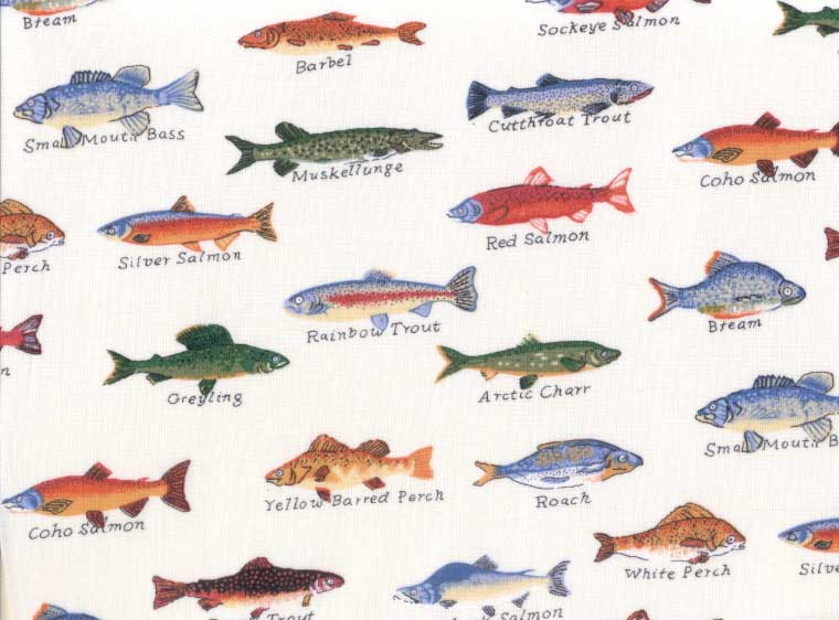 Gone Fishing Sheet Set Creme Fish Print