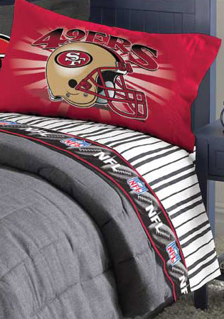 san francisco 49ers twin size pinstripe sheet set. Black Bedroom Furniture Sets. Home Design Ideas
