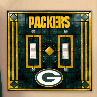 Green Bay Packers Nfl Art Glass Double Light Switch Plate