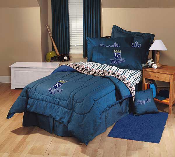 Kansas city royals team denim full comforter sheet set for Denim bedroom ideas