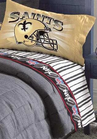 New Orleans Saints Twin Size Pinstripe Sheet Set