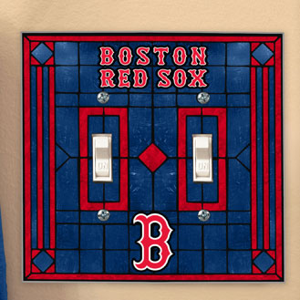 Boston Red Sox Mlb Art Glass Double Light Switch Plate Cover
