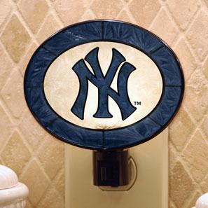 New York Yankees Mlb Art Glass Nightlight