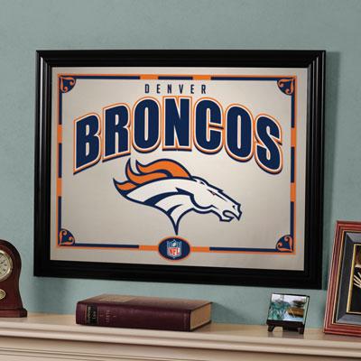 Denver broncos nfl framed glass mirror for Denver broncos bedroom ideas