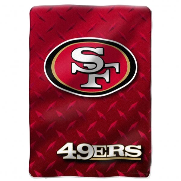 San francisco 49ers nfl diamond plate 60 39 x 80 raschel for 49ers room decor